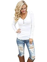 5a346e8347f35 Pull avec Bouton Femme Sexy Decollete Chemise Col V Haut Basic Manche  Longue Blouse Moulante Tee Shirt Decontracte Tunique Automne Hiver…