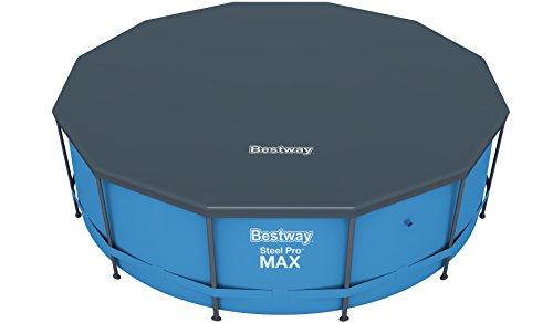 Bestway Flowclear PVC-Abdeckplane Ø370 cm, für Steel Pro Pool und Steel Pro Max Pool, Ø366 cm und Hydrium Splasher Pool Ø360 cm, grau