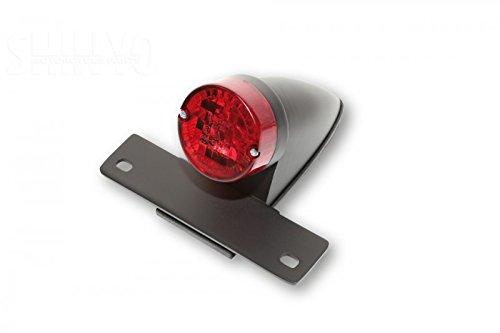 SHIN YO NEW SPARTO Chopper Rücklicht mit schwarzem Gehäuse, Kennzeichenhalter und Nummernschildbeleuchtung, rotes Glas