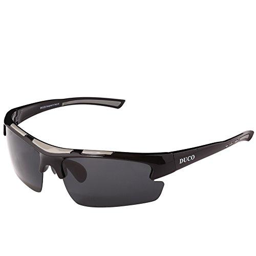 Duco polarisiert Designer Mode Sport-Sonnenbrille für Sport Fahrrad Angeln Golf TR90 super leichter Rahmen 6200 Schwarzer Rahmen Graue Linse