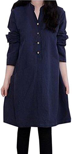EOZY Femme Robe Ample Col Montant Lin Style Unicolore Classique C