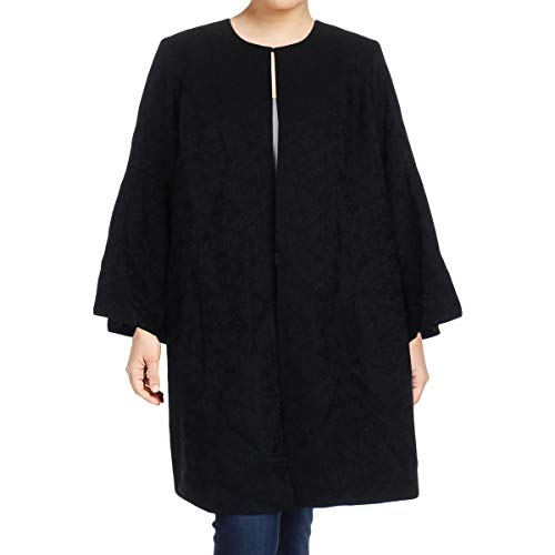 Calvin Klein Women's Plus Size Jaquard Bell Sleeve Topper Jacket (18W, Black)