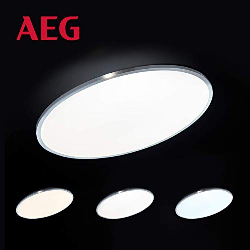 Almeda LED Panel Deckenleuchte per Fernbedienung stufenlos dimmbar, Memoryfunktion, Ø60cm, 42 Watt, 3800 Lumen, 2700 (warmweiß) bis 6000 (kaltweiß) Kelvin in eisen