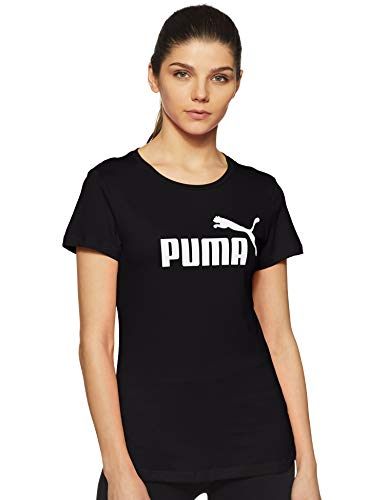 Puma Damen ESS Logo Tee T-Shirt, Cotton Black, S