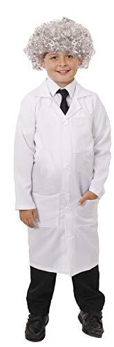 Kinder Wissenschaftler mit Perücke EINSTIEN Maskenkostüm - weiß Labor Mantel Plus grau lockig - perfekt für Halloween Kostüme und Themen Kostüm - erhältlich in 4 verschiedene Größen: Klein, M, groß XL