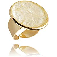 Anneau Blanc Réglable Tons D'Or Accessoire pour Cadeau