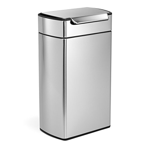 simplehuman Rectangular Touch-Bar Bin, 40 L - Fingerprint-Proof Stainless Steel