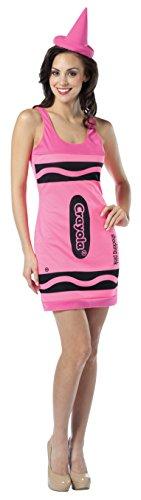 Crayola zeichnet Tank Dress - Adult Female Kostüm - Neon Pink (Female Rasta Kostüm)