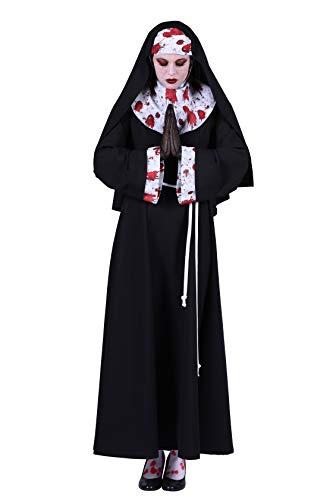 Halloween Kostüm Damen, Nonnen-Kostüm blutverschiert Deluxe, lang