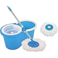 Dewberries Spin Bucket Mop with 2 Refills- Super Absorbent Refills for All Type of Floors, 360 Degree Spin Bucket, 180 Degree Bendable Handle, for Perfect Cleaning (Color May Vary)