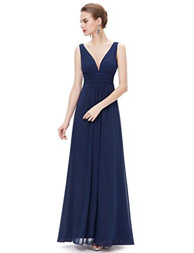 Ever Pretty Damen V-Ausschnitt Chiffon Abendkleider Festkleider 36 Marineblau