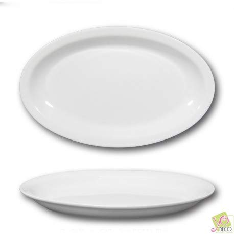 Plat ovale porcelaine blanche - L 32 cm - Roma