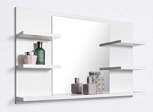 DOMTECH Badspiegel mit Ablagen, Weiß Badezimmer Spiegel, Wandspiegel, Badezimmerspiegel