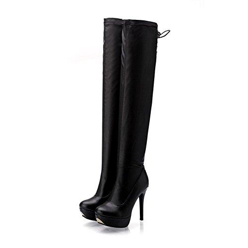 AgooLar Damen Rund Zehe Blend-Materialien Hoch-Spitze Hoher Absatz Stiefel Schwarz-Stiletto