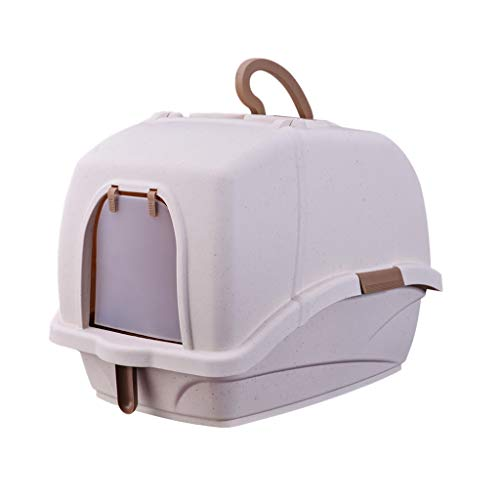 Welhome Cat Litter Box Jumbo, Petlife Cat Toilet, Hooded Cat Litter Box, PP Resin Litter Tray, Fully Enclosed Cat Kitty Litter Pan, for Cat oder Dog Use Pots,Brown,B