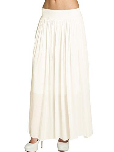 Lange Weiße Rock Zigeuner (CASPAR RO012 leichter langer Damen Sommerrock, Farbe:wollweiß;Größe:One Size)