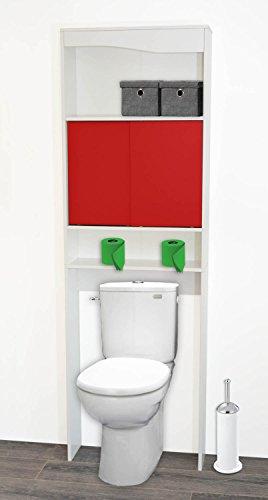 PEGANE Meuble WC Rouge en Bois avec 2 Portes coulissantes, 63x19,5x195cm