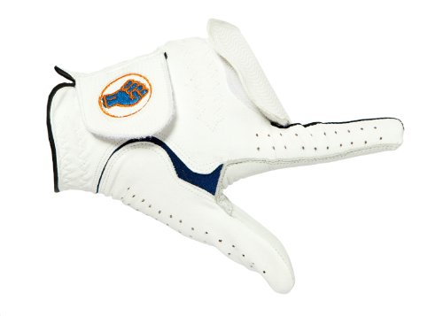 Grip-Par Golf-Handschuh von PGA Profis für das Grip Training empfohlen – R & A zugelassen – Large – Linke Hand – Cabretta-Leder - Weiss blaue Verzierung (Trainer Golf Grip)