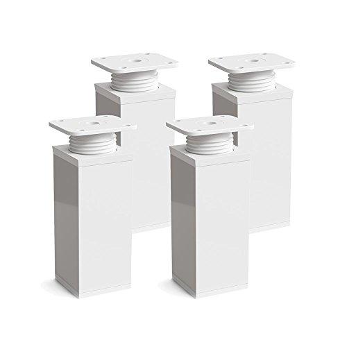 Patas para muebles, 4 piezas, altura regulable | Perfil cuadrado: 40 x 40 mm | Sossai MFV1-WH | Diseño: Blanco | Altura: 100mm (+20mm) | Tornillos incluidos