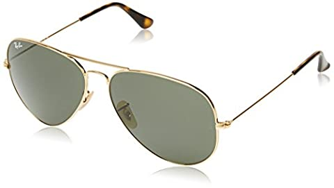 Ray Ban Unisex Sonnenbrille RB3025, Gr. X-Large (Herstellergröße: 62), Grün (Gestell: Gold, Gläser: Grün Klassisch (Gold Grün Sonnenbrille)