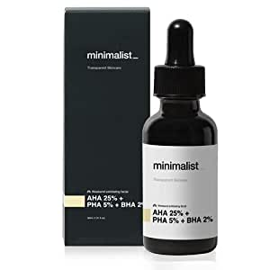 Minimalist AHA 25% + PHA 5% + BHA 2% Peeling Solution for Glowing Skin, Smooth Texture & Pore Cleansing   Weekend Facial Exfoliant or Peel   30ml