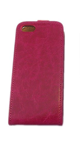 handy-point Toscana Leder Klapptasche für Apple iPhone 4 blau Pink