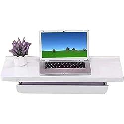QAS Escritorio de Ordenador Blanco, Mesa de Pared con Bandeja de Teclado Ajustable (Tamaño: 80 Cm),Blanco,80 cm