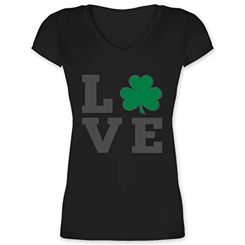 St. Patricks Day - Kleeblatt Love - XS - Schwarz - XO1525 - Damen T-Shirt mit ()