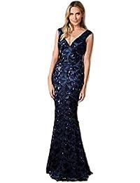 1a928db23a7 Goddiva Stephanie Pratt Sequin Mesh Fringed Maxi Dress