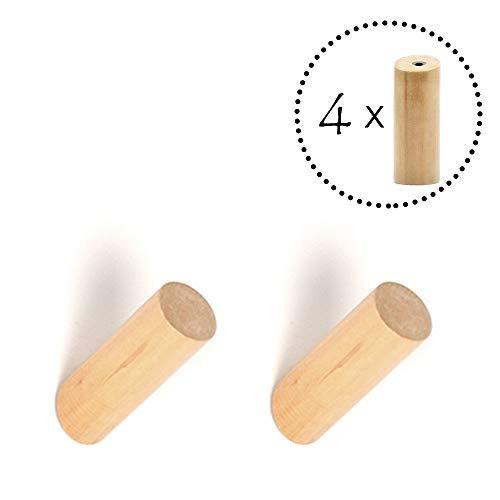 ANZOME Holz Haken, 4 Stück Holz Kleiderhaken, Holzhaken zum Aufhängen von Mänteln, Mützen, Schals, Kleidung und Kopfhörer im Schlafzimmer, Wohnzimmer, Flur (Holz) - Holz-kleidung