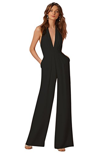 Galleria fotografica Minetom Donne Elegante Collo V Senza Maniche Jumpsuit  Playsuit Moda Pantaloni Gamba Larga Sciolto feb91b40b03a