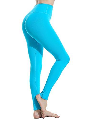 Ekouaer Leggings Taille haute Pour femme Contrôle du ventre Pour entraînement, yoga, course à pied bleu ciel