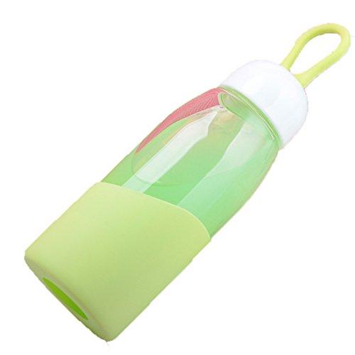 Oneoney contenitori di vetro, antigoccia, bottiglie, succhi, acqua portatile/bottiglie di bevande, donna, Green, 11 oz