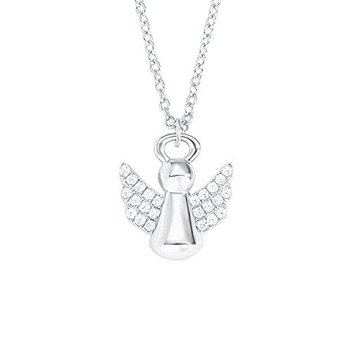 S.Oliver Kinder Kette mit Engel-Anhänger Schutzengel 925 Sterling Silber rhodiniert Zirkonia 37+3 cm weiß