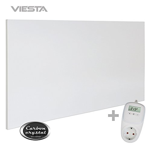 Viesta H700 Infrarotheizung Carbon Crystal (neueste Technologie) Heizpaneel Heizkörper Heizung heating panel ultraflache Wandheizung Weiß 700 Watt + Viesta TH10 Thermostat