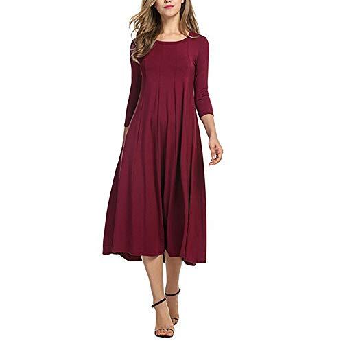 (Damen Einfaches Kleider Basic Casual A-Linie Skaterkleid Freizeit Kleider Fließendes Kleid Langarm Beiläufige Shirt Lose Rundhals Tunika von Innerternet)