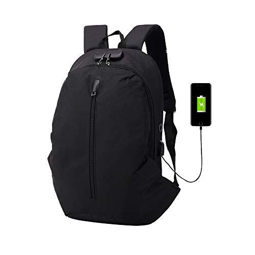 POIUDE Laptop Rucksack Multifunktionaler Großer Reiserucksack Daypack Schulrucksack mit USB-Ladeanschluss Business Backpack(Schwarz, 30x13x51cm)