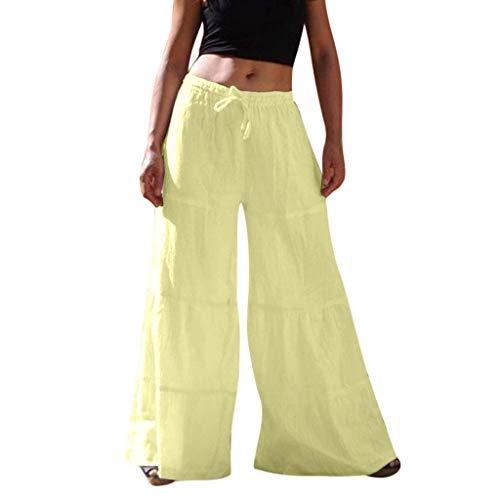 Epig Loose Women Reine Farbe Elastische Taille Lässige Baumwollmischung Weite Hosen -