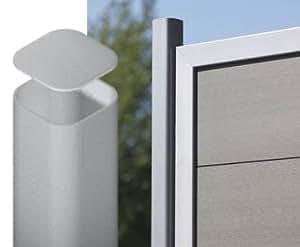 zaunpfosten aus metall silber zum aufschraub 195cm pfosten f r sichtschutzw nde elementhalter. Black Bedroom Furniture Sets. Home Design Ideas
