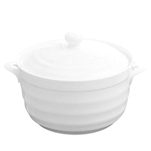 BAKOU Soupière Poignée double couvercle Blanc pur relief en céramique Bol à soupe bain-marie micro-ondes à soupe PO - 27CM*15CM