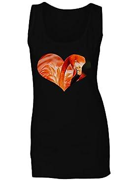 Flamenco en forma de corazón imagen divertida camiseta sin mangas mujer d649ft