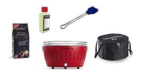 LotusGrill Barbecue XL Kit de démarrage 1x Lotus Barbecue charbon de bois de hêtre XL Feu Rouge 1x 1kg, 1x Pâte à combustible 200ml, 1x Pinceau Bleu Outremer, 1x XL Sacoche