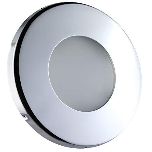 LED Einbaustrahler Feuchtraum Nassraum Niedervolt Einbauleuchte Downlights Einbauspot Chrom GU5.3 / MR16-12V (IP44-Rund-14703) (Warmweiß) -