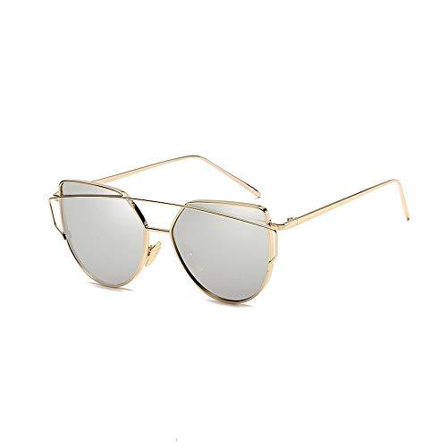 Eye-nak® Mode Katzenaugen Cat eye Sonnenbrille Für Damen UV400 Metall Rand Rahmen verspiegelte Linsen (C6 Rahmen Gold/Glas Silber)