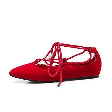 Confortevole ed elegante piatto scarpe donna Appartamenti Primavera Estate Autunno Comfort cinturino alla caviglia vello Office & Carriera Athletic Casual tacco piatto di pizzo nero rosso blu a piedi Blue