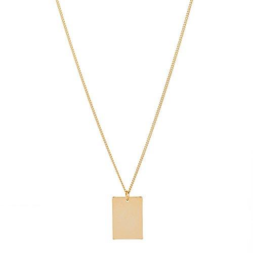 TomShot Halskette Damen Rechteck Anhänger - Goldkette viereckige Platte Plättchen-Anhänger Hochglanz vergoldet Mittellange Kette 50 cm - 95ke0312g
