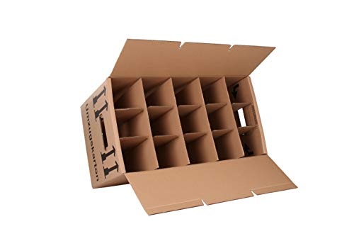 15 Gläserkartons Flaschenkartons Umzugskartons Geschirrkarton 2-Wellig 15 Fächer von A&G-heute - 2
