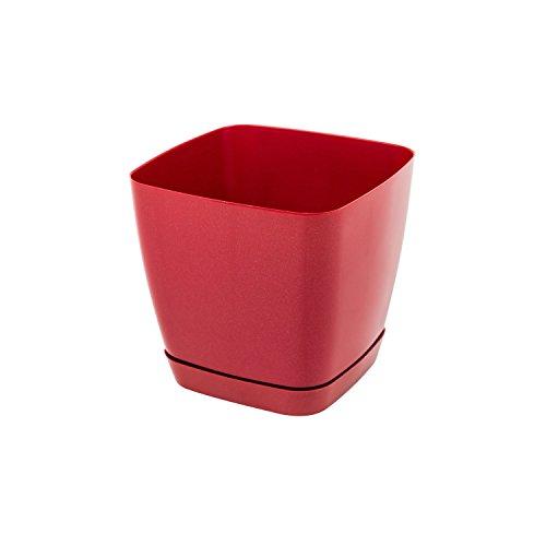 Pot de fleur Toscana en plastique carré 13 cm avec soucoupe, en rouge