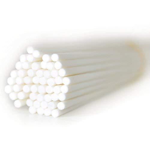 50 Stück Durchmesser 4mm Faser Reed Diffusor Ersatz Refill Sticks für Aroma Duft (25cm*4mm, Weiß) (E-stab-refill)