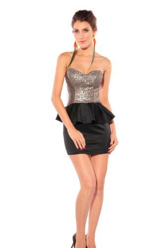 Blansdi sexy Clubwear Mini Slim Fit Soir¨¦e Cocktail sans bretelles sans manche Peplum robe d'or Noir